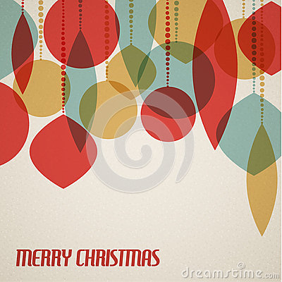 Free Retro Christmas Card With Christmas Decorations Stock Photo - 27031250