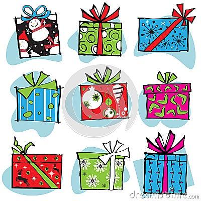 Retro Christmas Gift Boxes Icons