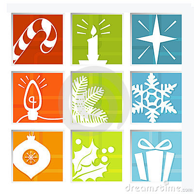Free Retro Christmas Icons Royalty Free Stock Images - 3056769