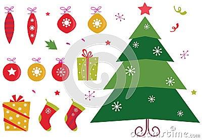 Retro christmas icons and elements set