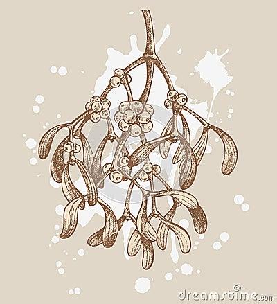 Retro christmas mistletoe