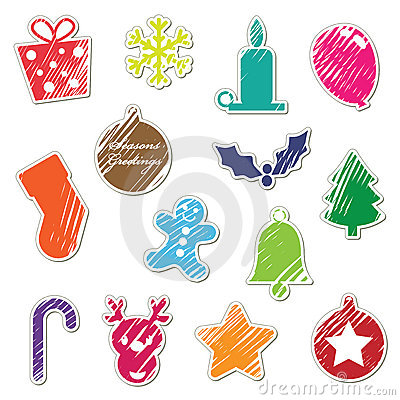 Retro christmas stickers