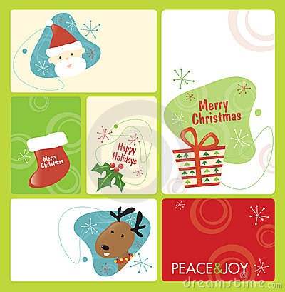 Retro Christmas Tag Set 1