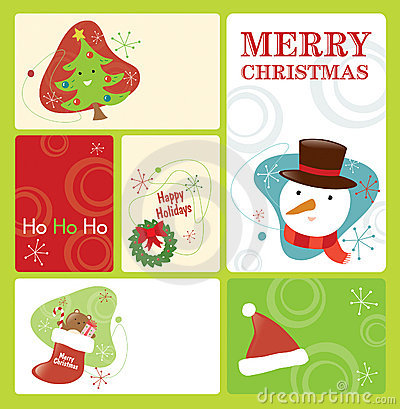 Retro Christmas Tag Set 2