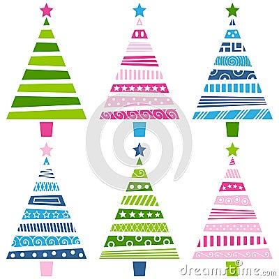 Free Retro Christmas Tree Set Royalty Free Stock Photography - 11873057