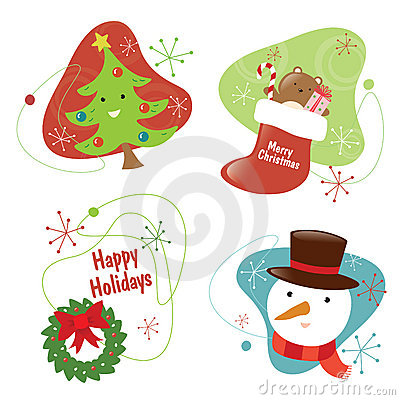 Retro Chritmas Set 2 Isolated