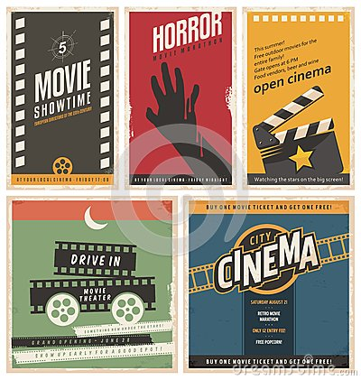 Free Retro Cinema Posters And Flyers Collection Stock Photos - 64498513