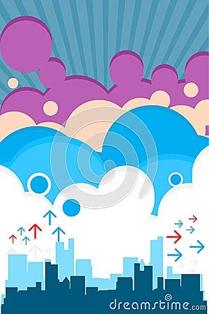 Retro città urbana con le nubi
