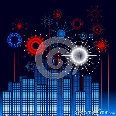 Retro city fireworks