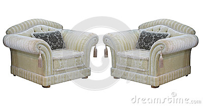 Retro classic vintage luxury chairs isolated over white