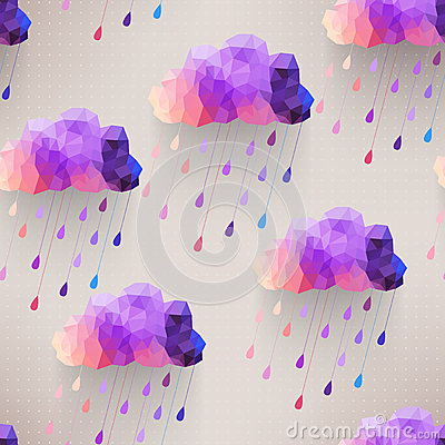 Free Retro Cloud Seamless Pattern With Rain Symbol, Hipster Backgroun Stock Photos - 39460053