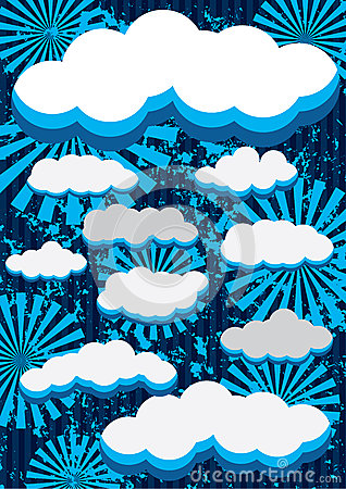 Retro Clouds Background_eps