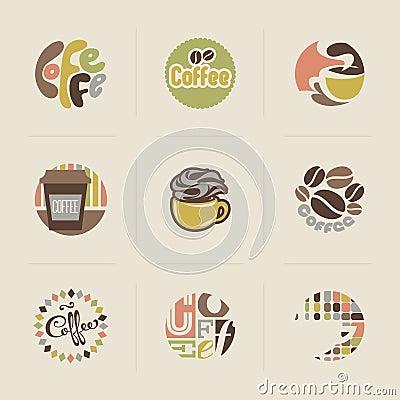 Retro coffee emblems. Set of vectors