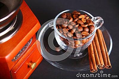 Retro coffee grinder grain