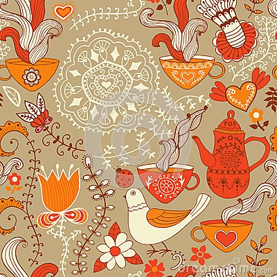 Free Retro Coffee Seamless Pattern, Tea Background, Texture With Cups Stock Images - 50393664