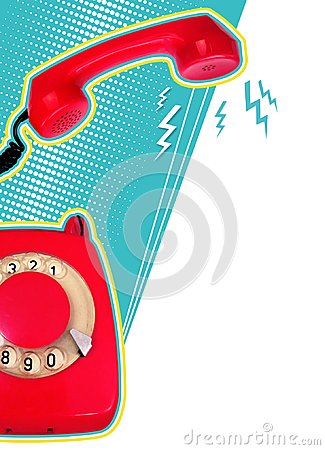 Free Retro Collage With Red Retro Telephone On Blue Background Stock Image - 105045931