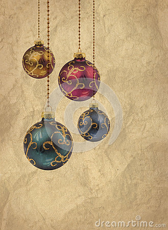 Retro color Christmas balls card