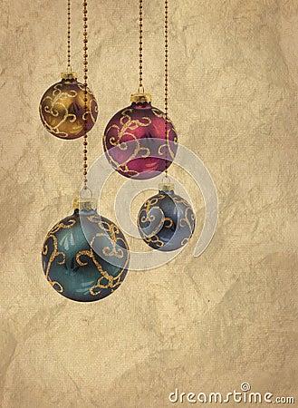 Retro color Christmas balls card