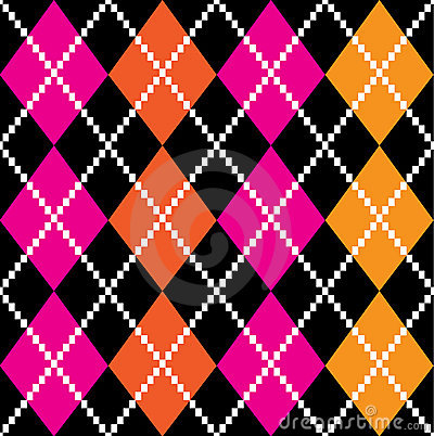Retro colorful argile pattern - orange and pink