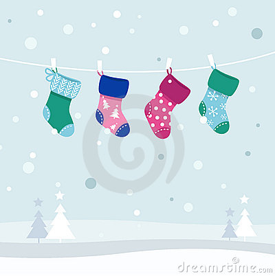 Free Retro Colorful Christmas Stockings Collection Stock Photography - 21630832