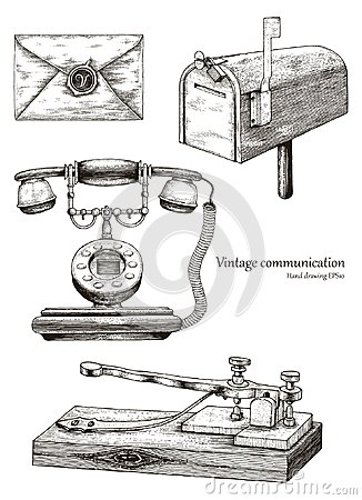 Free Retro Communication Equipment Hand Drawing Vintage Style Royalty Free Stock Photography - 118607627