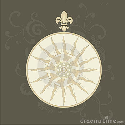 Retro compass with fleur-de-lis