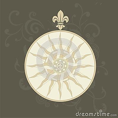Retro compass with fleur-de-lis