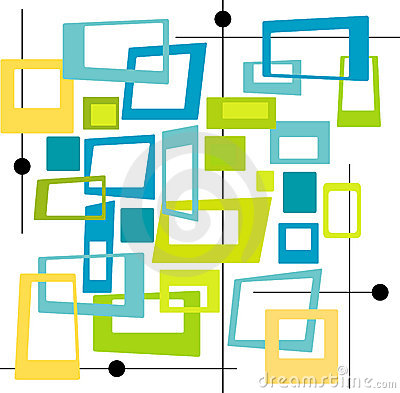 Retro Cool Colors Squares (Vec