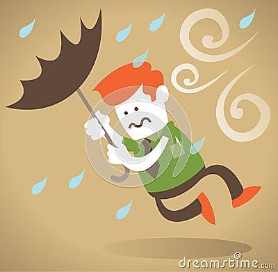 Retro Corporate Guy blown away with Umbrella.