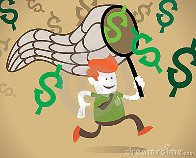 Retro Corporate Guy chases the dollar.