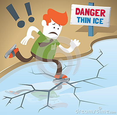 Free Retro Corporate Guy Is Skating On Thin Ice. Stock Photography - 33821952