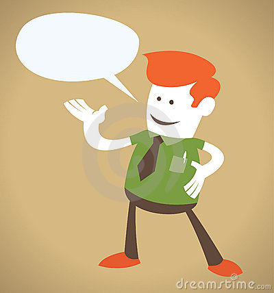 Retro Corporate Guy with Speech Bubble.