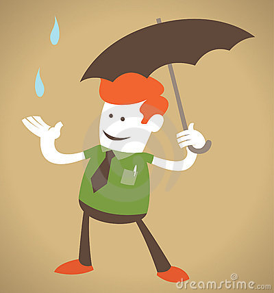 Retro Corporate Guy with Umbrella.