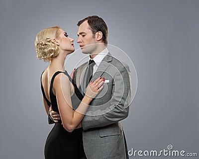 Retro couple  on grey