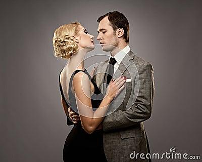 Retro couple in love