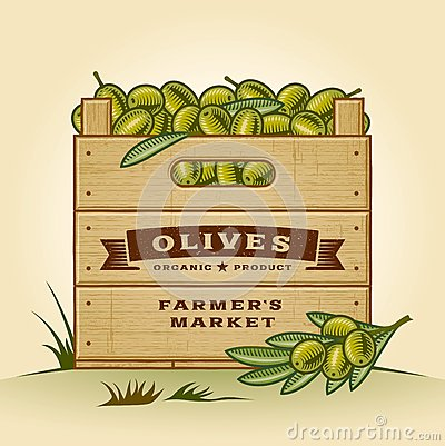 Retro crate of olives
