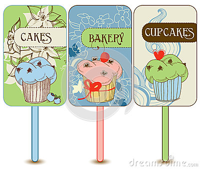 Retro cupcakes labels