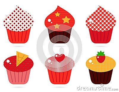 Retro cupcakes set