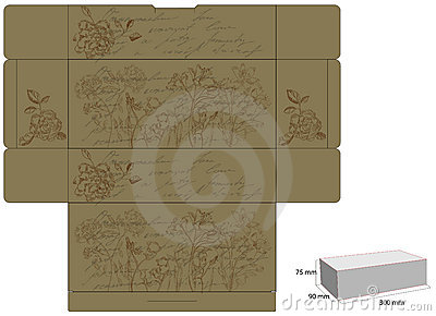 Retro decorative box with flowers
