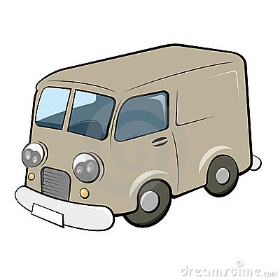 Illustration of retro style delivery van isolated on white background.