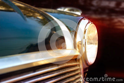 Retro design classic of vintage car, colorful soft and blur concept Stock Photo
