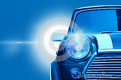 Retro design classic of vintage car head light on blue color tone Stock Photo