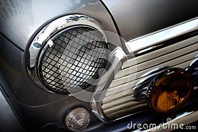 Retro design classic of vintage car head light, soft and blur concept Stock Photo