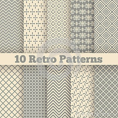 Free Retro Different Seamless Patterns. Vector Royalty Free Stock Photo - 46446645