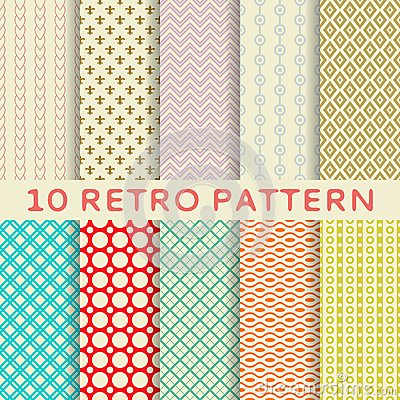 Free Retro Different Vector Seamless Patterns (tiling). Royalty Free Stock Images - 32296489