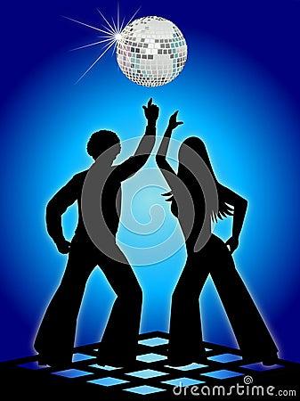 Free Retro Disco Dancers Blue/eps Stock Photography - 6236572