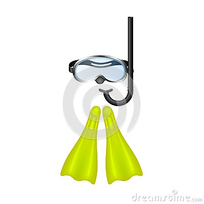 Free Retro Diving Goggles With Yellow Flippers Stock Photography - 118913402