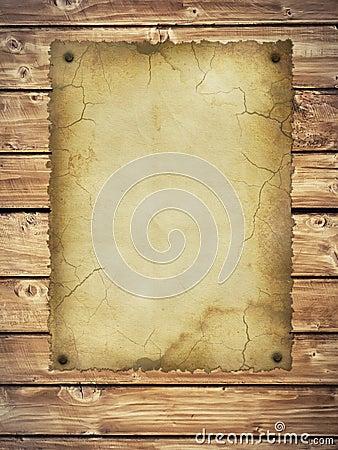 Pareti In Legno Vecchio : Vecchio documento su una parete di legno ...