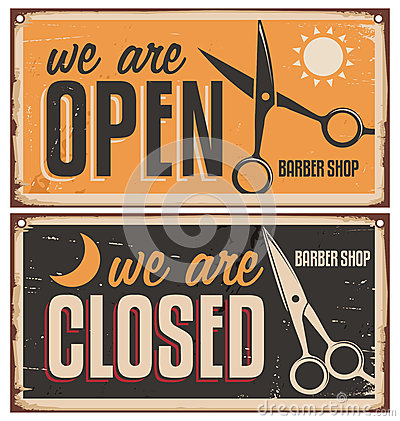 Free Retro Door Signs For Barber Shop Stock Photo - 37121380