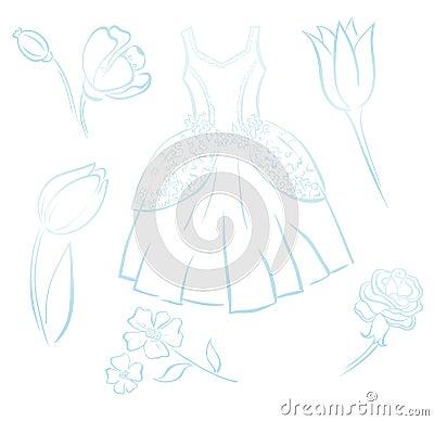 Retro dress and flower